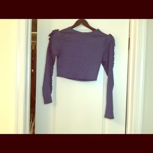 Blue Frenge crop top